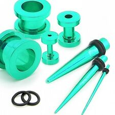 Set Flesh Tunnel Estensore Plug Piercing Tappo e Dilatatore Taper 1,6-10mm Verde