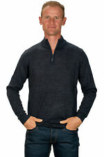 Ugholin Pull Homme Cachemire Fin Col Zippé Montant Gris Anthracite