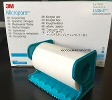 """3M Micropore PAPER Surgical Medical Tape 3"""" x 10 yds w/ DISPENSER 1, 2, 4 Rolls"""