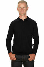 Ugholin - Pull Homme Cachemire Fin Col Polo Noir Manches Longues
