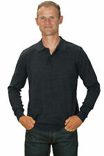 Ugholin - Pull Homme Cachemire Fin Col Polo Gris Anthracite Manches Longues
