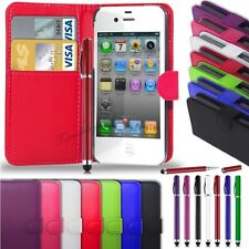 Apple iPhone 4G/4S -Leather Wallet Case Cover + 2 in 1 Stylus Pen & Sc