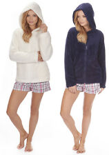 New Ladies Womens Soft Warm Cosy Hooded Full zip Snuggle  Fleece Lounge Bed Top
