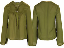 G81 NEW WOMENS V NECK TIE UP LACE EYELET DETAILS SHEER BLOUSE TOP SHIRT IN 8-14