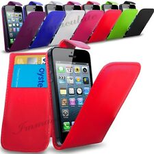 APPLE iPHONE 5S/5G - NEW PU LEATHER FLIP CASE COVER POUCH & SCREEN GUA