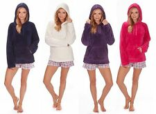 Ladies Soft Snuggle Fleece Hoody Luxurious Warm Top Hood Bed Jacket Gift for Her