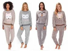 Ladies Womens Two Toned Snuggle Fleece Twosie with Printed Fox Owl Casual Gift