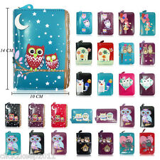 Ladies Girls Faux Leather PU Cartoon Cute Owl Family Purse Coin Purse Wallet