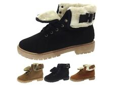 Womens Faux Fur Lined Ankle Boots Winter Worker Combat Military Shoes Size 3 - 8