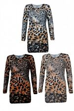 Ladies Winter Soft Fluffy Fur Stretch Long Jumper in a Lot Lion Print Tops 8-14