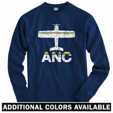 Fly Anchorage ANC Airport Long Sleeve T-shirt LS - Alaska Airlines - Men / Youth