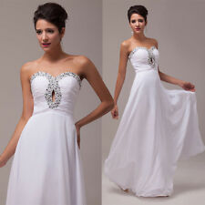 Long Chiffon Sexy Women Bead Prom Dress Pageant Party Evening Gown Wedding Dress