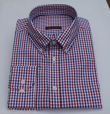 Ex M&S Mens New Pure Cotton Slim Fit Red Check Oxford Long sleeve Shirt Size 15