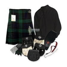 PARTY KIT KILT OUTFIT - BLACK WATCH - BLACK - SIZE & UPGRADE OPTIONS !