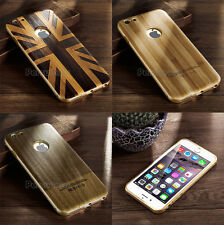 Ultra-thin Aluminium Metal Bumper Retro Wood PC Back Case for Apple iP