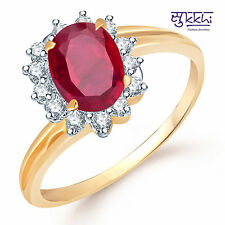 Sukkhi Modern Gold and Rodium plated CZ Studded Ruby Ring - 137G520