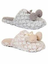 Womens Luxury Faux Fur Slippers Pom Pom Mules Shoes Xmas Gift Ladies Size UK 3-8