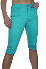 NEW (1479-6) Crop Capri Jeans Pants Turn Cuff Chino Sheen Turquoise Blue 18 20