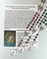 Dolour Rosary with laminated Prayer card CHOICE OF GEMSTONE BEADS