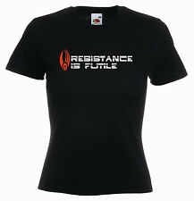 'Resistance is Futile' Star Trek Movie Borg Capt. Piccard Ladies Funny T-shirt