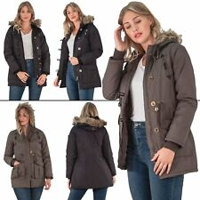 New Womens  Padded Parka Fur Trim Hooded Long Sleeve Polyester Jacket