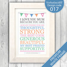 Personalised mothers day gift present / Gift for mum / i love mum print VA017