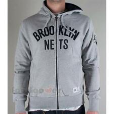 Felpa Adidas D02444 Basket Brooklyn Nets Hoody Zip Uomo Fashion NBA Moda Grey