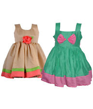 Laocchi Chanderi Cotton Partywear Frocks - Set of 2 (Sandalwood, Green with Bow)