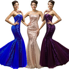 BLUE SEQUINS BRIDESMAID WEDDING DRESSES PROM EVENING LONG MAXI MERMAID BALL GOWN