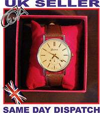 Luxury Gold Unisex watch Geneva Leather Brown or Black Strap Quartz Present Box