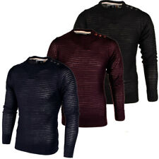 Mens Soulstar Ribbed Knit Crew Neck Button Detail Jumper Sweater Top