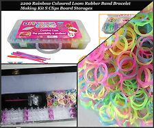 2200 Colourful Rubber Loom Bracelet Making/Kit S-Clip,600 Bands set,Glow in Dark