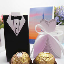 10 - 100pcs DRESS & TUXEDO Wedding Party candy boxes Bride and Groom choose