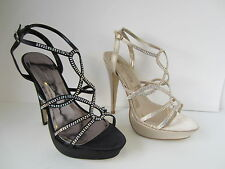 Damas Negro/dorado Spot On Alto Zapatos De Tiras GB Tallas 3-8 f10171