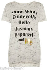 PRIMARK LADIES DISNEY PRINCESS AND ME T SHIRT TEE TOP NEW ECRU TIERED FLECK