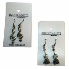 Earrings Music Theme - Saxophone, Violin & Treble Clef - Pewter Music Gifts