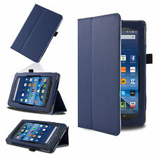 Blue Smart Leather Case Cover for 2015 Amazon Kindle Fire 7'' HD 8'' 10.1''