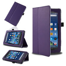 Purple Smart Leather Case Cover for 2015 Amazon Kindle Fire 7'' HD 8'' 10.1''