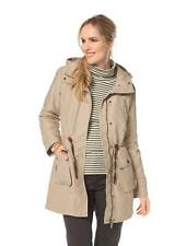 Cheer Parka Damen Wattiert Beige Trenchcoat Winter Mantel Jacke Kapuze 36-46