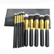 Kit Set Professionale 10 Pennelli Make up Trucco con Custodia di Pennello