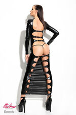 Dessous Langes Schwarzes Wetlook-Kleid Dorothea mit T-String Gogo Gr.S-XL*872638