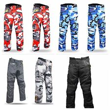 Mens Motorcycle Motorbike Textile CE Armoured Waterproof Camo Trousers  Pants