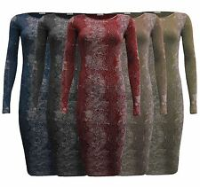 NEW WOMEN LADIES LONG SLEEVE BODYCON SNAKE PRINT MIDI DRESS SIZE 8-26 UK