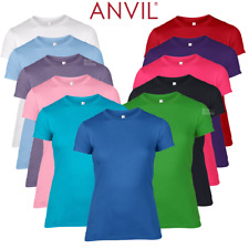 Anvil LADIES T-SHIRT SOFT COTTON FITTED ALL SIZES COLOURS BASIC TOP TEE S-2XL