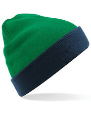 Beechfield Reversible Contrast Beanie Hat B421 Winters Double Layer Knitted Cap