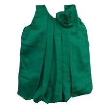 LaOcchi Dark Green Chanderi Cotton Bubble Frock with Flower