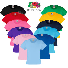 Fruit Of The Loom GIRL'S T-SHIRT VALUEWEIGHT TOP PLAIN TEE COTTON COLOURS SIZES