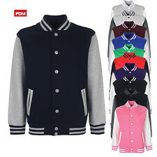 FDM CHILDREN'S VARSITY JACKET COLLEGE BASEBALL STYLE CONTAST SLEEVE BOYS GIRLS