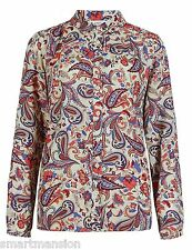 New Ex M&S Ladies Collared Long Sleeve Paisley Print Top Blouse Shirt Size 8-10