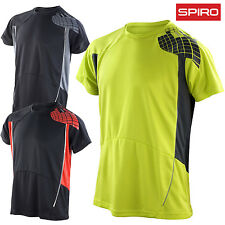 SPIRO MEN'S GYM T-SHIRT FITNESS RUNNING TRAINING TOP QUICK COOL DRY BREATHABLE